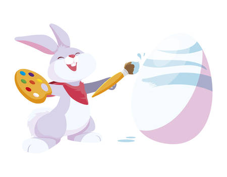 cute rabbit easter with egg painted vector illustration design Çizim