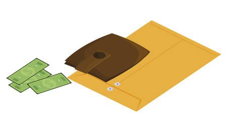manila envelope with wallet money vector illustration design Illusztráció