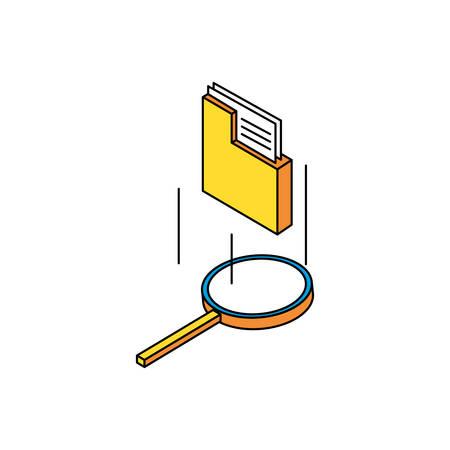 search magnifying glass with folders vector illustration design Illusztráció