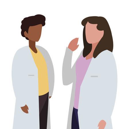 interracial couple medicine workers with uniform characters vector illustration Stock Illustratie