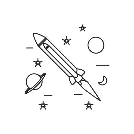 rocket startup with planet saturn and set icons vector illustration design  イラスト・ベクター素材