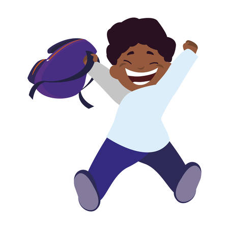 happy little black schoolboy with schoolbag character vector illustration design