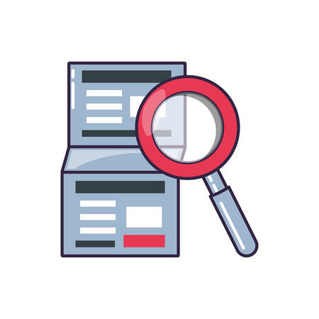 magnifying glass with document vector illustration design Ilustracja