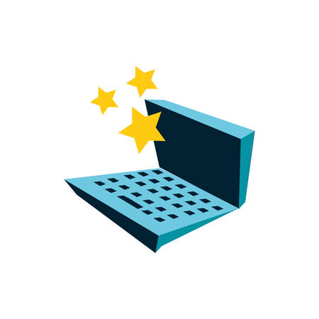 cute stars with laptop computer vector illustration design
