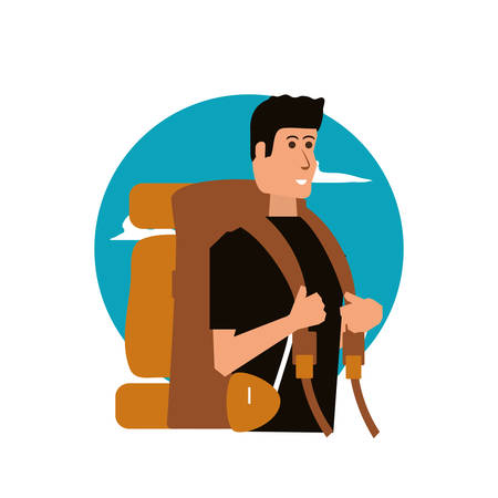 traveler man with travel bag and sky vector illustration design