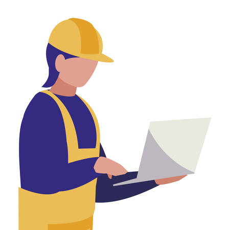 industrial worker with laptop avatar character vector illustration design Archivio Fotografico - 129807215