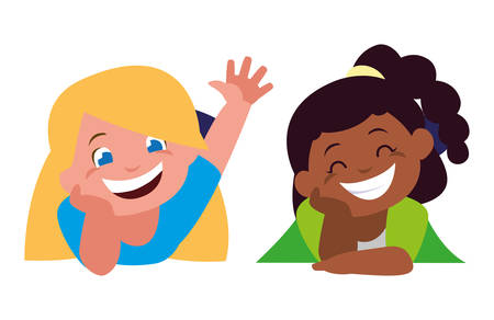 happy little interracial girls characters vector illustration design Archivio Fotografico - 129807228