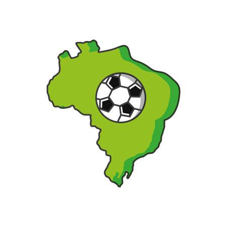 map of brazil with soccer ball vector illustration design Illustration