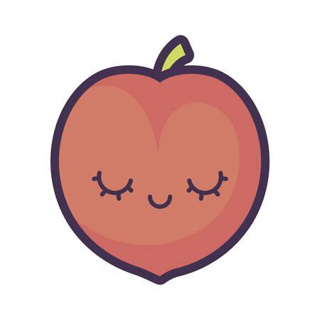 peach fruit character vector illustration design