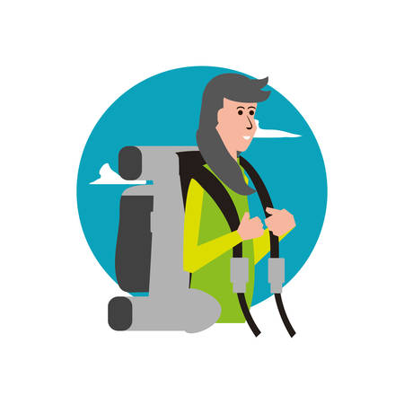 traveler woman with travel bag and sky vector illustration design Stock Illustratie