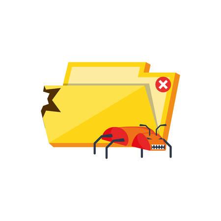 folder document with virus attack vector illustration design Archivio Fotografico - 129807307