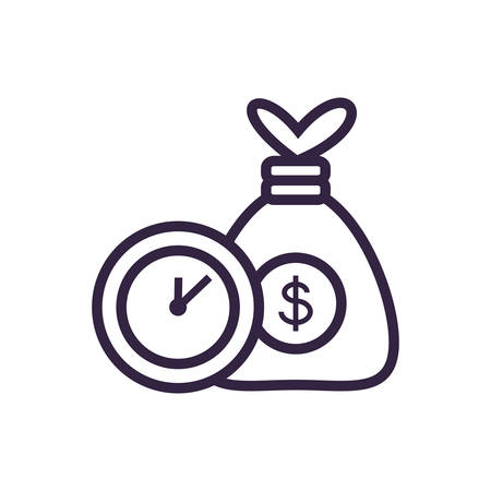 clock time with money bag vector illustration design