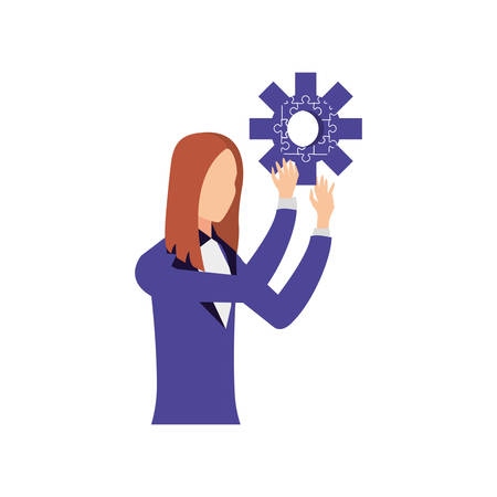 businesswoman with puzzle pieces in shape pinion vector illustration design