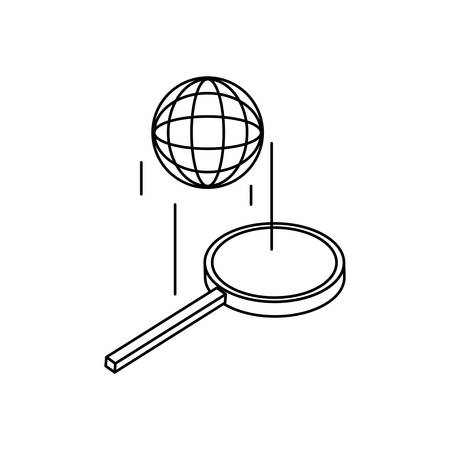 search magnifying glass with sphere planet vector illustration design