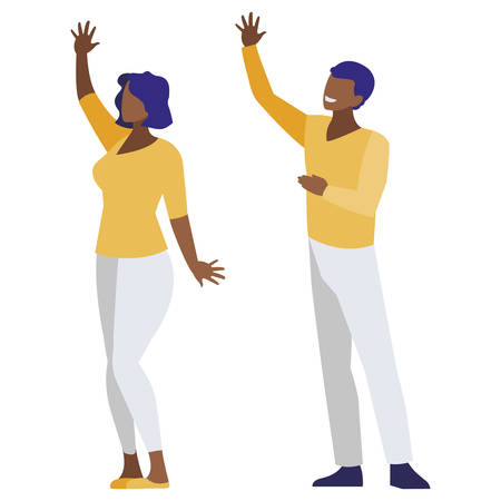 afro business couple avatars characters vector illustration design  イラスト・ベクター素材