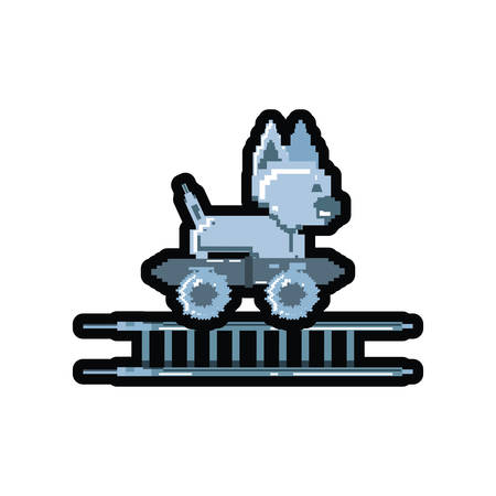 video game pixelated robotic dog with skateboard vector illustration design Illusztráció