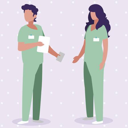 couple medicine workers with uniform characters vector illustration design Stock Illustratie