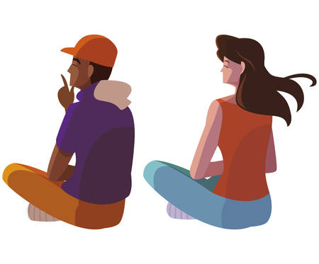interracial couple seated back characters vector illustration design