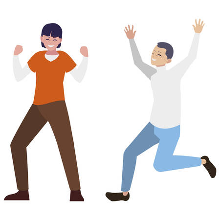 happy young men celebrating characters vector illustration design Archivio Fotografico - 129807370