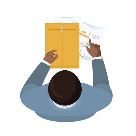 businessman with manila envelope air view vector illustration design