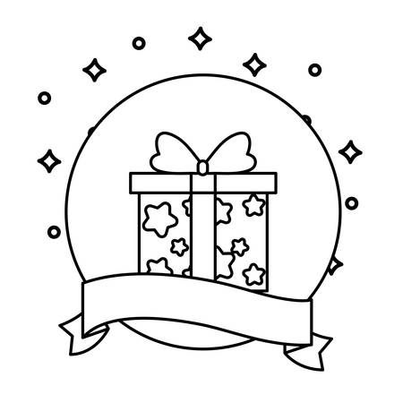 gift box present in frame circular with ribbon vector illustration design