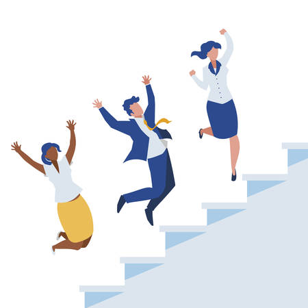 elegant business people celebrating in stairs vector illustration design Çizim