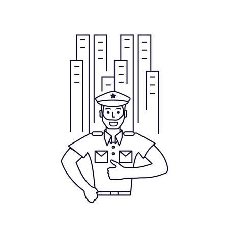 police officer with cityscape isolated icon vector illustration design