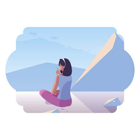 woman contemplating horizon in snowscape scene vector illustration design