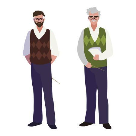 teachers couple avatars characters vector illustration design Ilustração