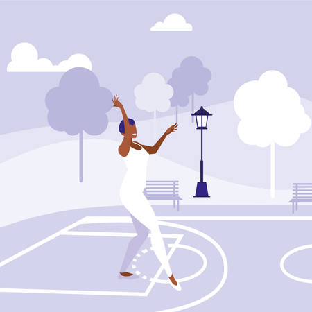 young black woman dancing in the park character vector illustration design