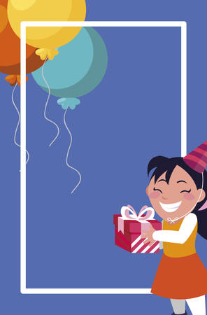 cute girl with birthday balloons helium and gift vector illustration design