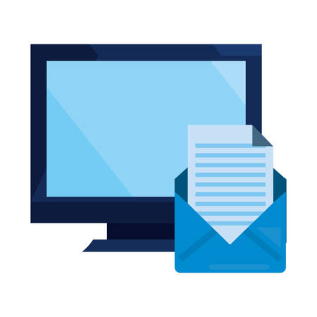 computer email communication cybersecurity data protection vector illustration