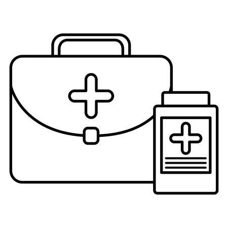 medical kit with bottle drugs vector illustration design