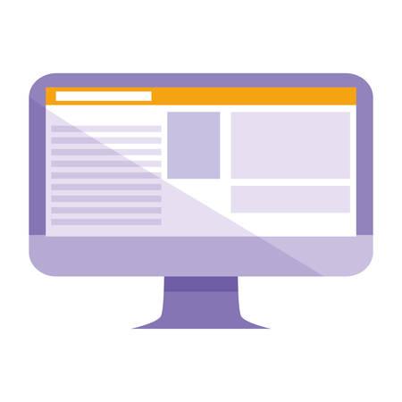 computer desktop isolated icon vector illustration design  イラスト・ベクター素材