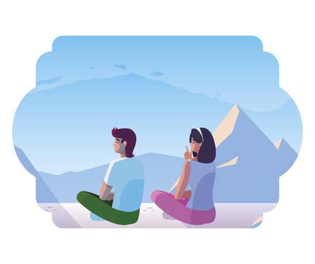 couple contemplating horizon in snowscape scene vector illustration design  イラスト・ベクター素材