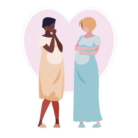 interracial couple of pregnancy women in heart vector illustration design Çizim