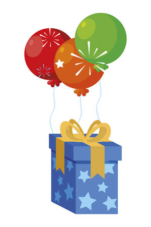 gift box present with balloons helium vector illustration design 向量圖像