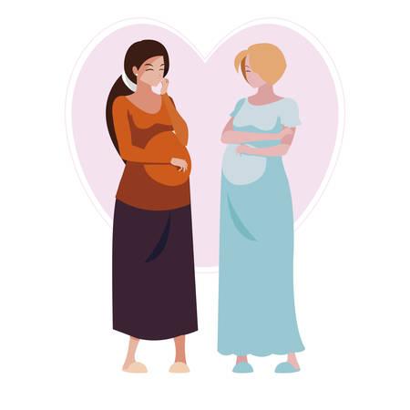couple of beautiful pregnancy women in heart vector illustration design