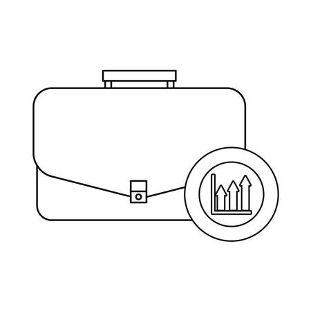 business suitcase coin chart vector illustration design