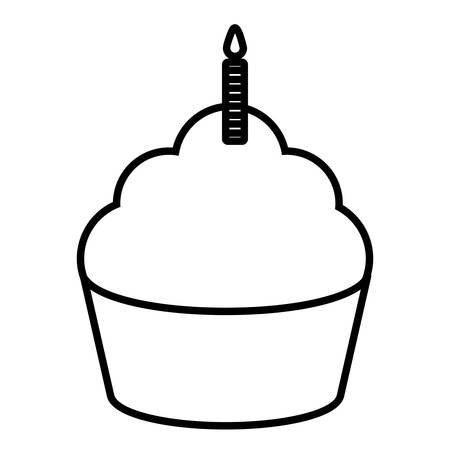 sweet cupcake with candle vector illustration design Standard-Bild - 129859107