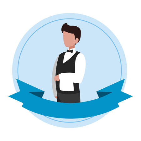 waiter catering service character vector illustration design Illustration