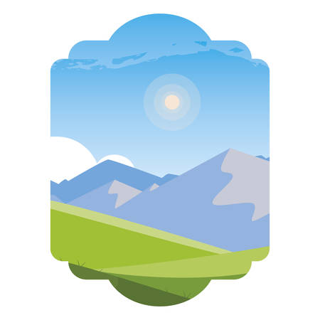 field camp and mountains landscape scene vector illustration design  イラスト・ベクター素材