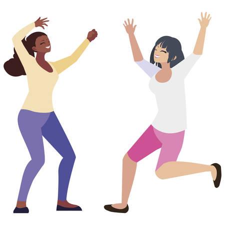 happy young interracial women celebrating vector illustration design