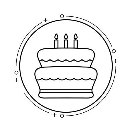 cake of birthday in frame circular vector illustration design Standard-Bild - 129859202