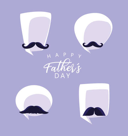 happy father day card with moustaches and speech bubbles vector illustration design Archivio Fotografico - 129859304