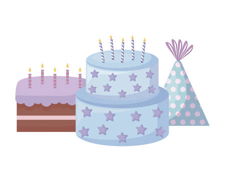 sweet cakes with candles and hat party vector illustration design