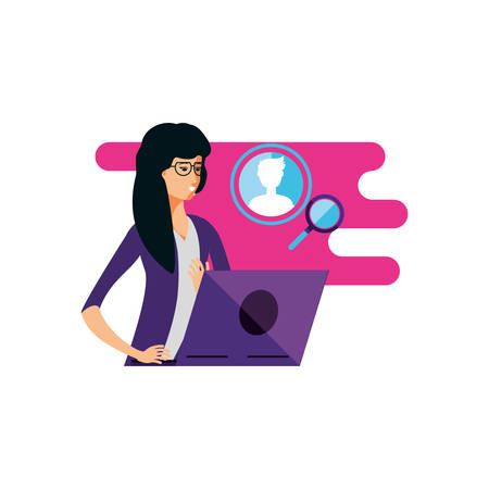 young woman using laptop computer vector illustration design  イラスト・ベクター素材