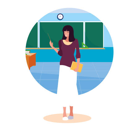 teacher female with frame of classroom vector illustration design