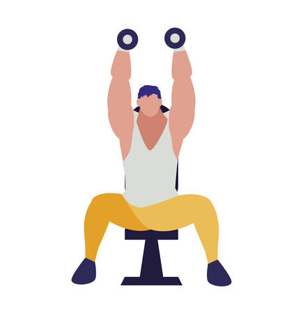 athletic man weight lifting in the gym vector illustration design