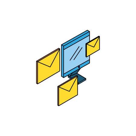 desktop computer with envelopes email vector illustration design  イラスト・ベクター素材